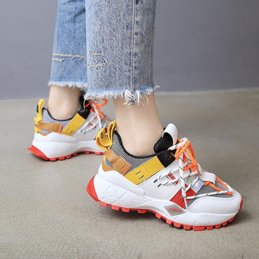 Women Sneakers Fashion Design Lace Up Casual Shoes