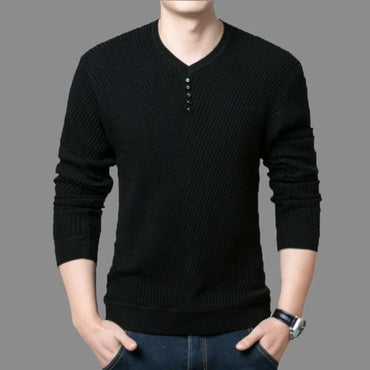 Men Casual Sweaters Fashion V-Neck Long Sleeve Wild Slim Fit