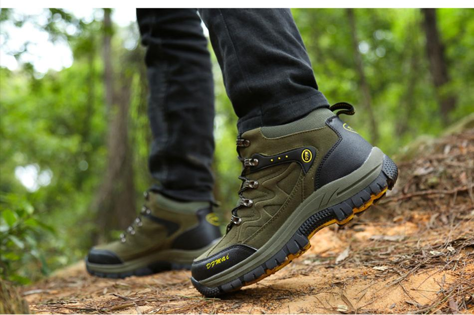 Men Winter Boots Waterproof Non-slip High Quality Leather Lace Up Boots