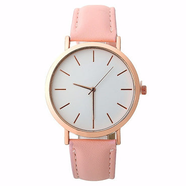 Minimalist Fashion Design Women Leather Strap Quartz Watches