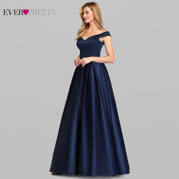 Elegant Women Long Prom Dress Satin A-LIne V-Neck Off The Shoulder