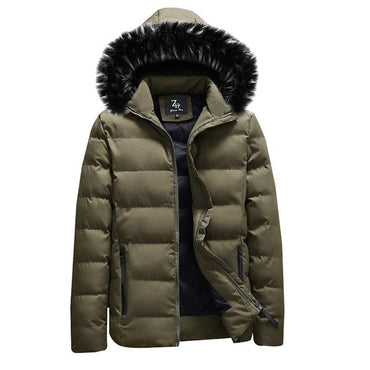 Men Coat Cotton Hooded Winter Thicken Warm Fur Hooded Down Parka