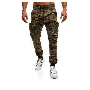 Men Camouflage Casual Pants Patchwork Multi-pocket Sportwear Sweatpants