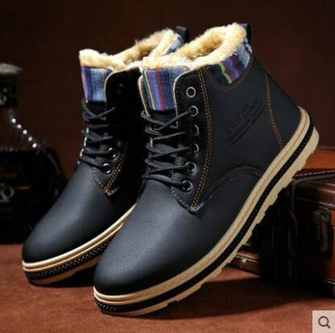 Men winter boots comfortable plus velvet thick warm cotton high help boots