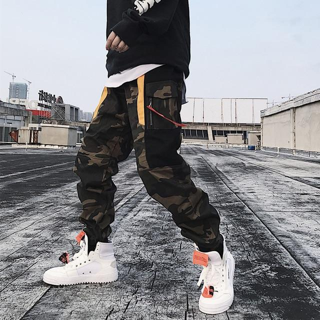 Men Sweatpants Hip Hop Camouflage Streetwear Ribbon Loose Multi-Pockets Joggers