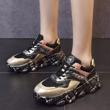 Women Vulcanized Shoes Golden Lace Up Platform Fashion Sneakers
