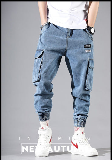 Men Jogger Jeans New Fashion Streetwear Hip Hop Style Harem Jeans