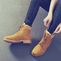 Women Winter Boots Solid Lace Up Round Toe  Classic Fashion Leather Snow Boots