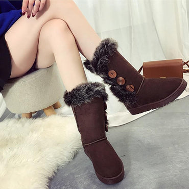 New Fashion Women Mid Calf Winter Boots Felt Hair Button With Faux Fur Boots
