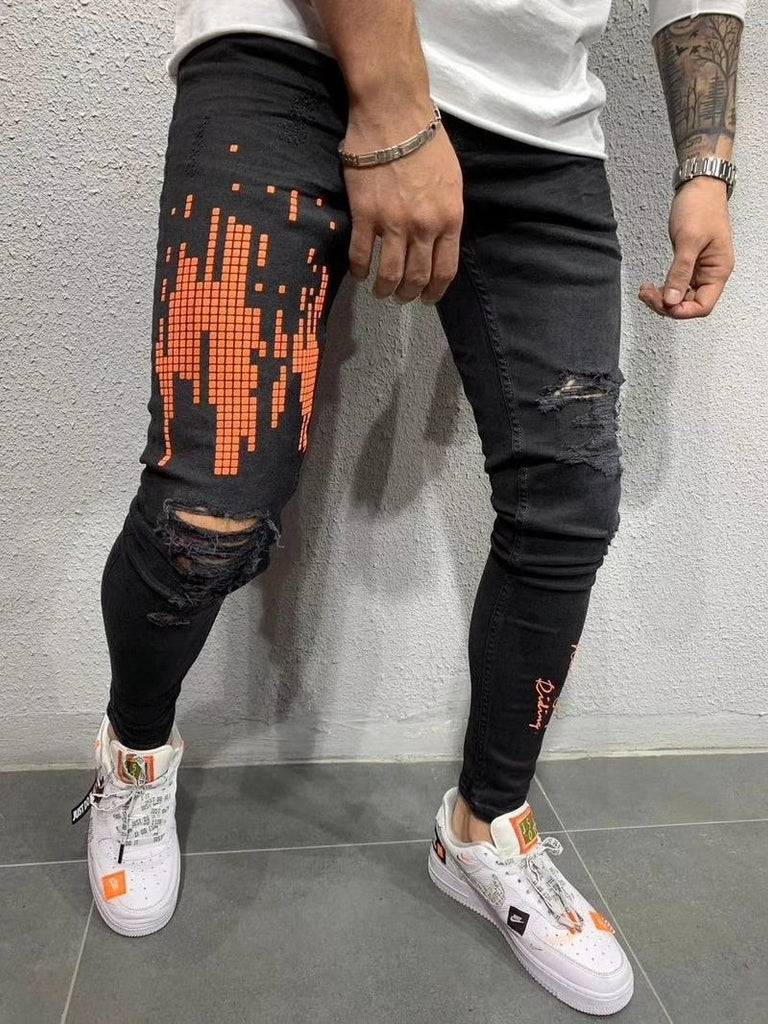 Men Jeans Fashion Streetwear Slim Fit Skinny Jeans