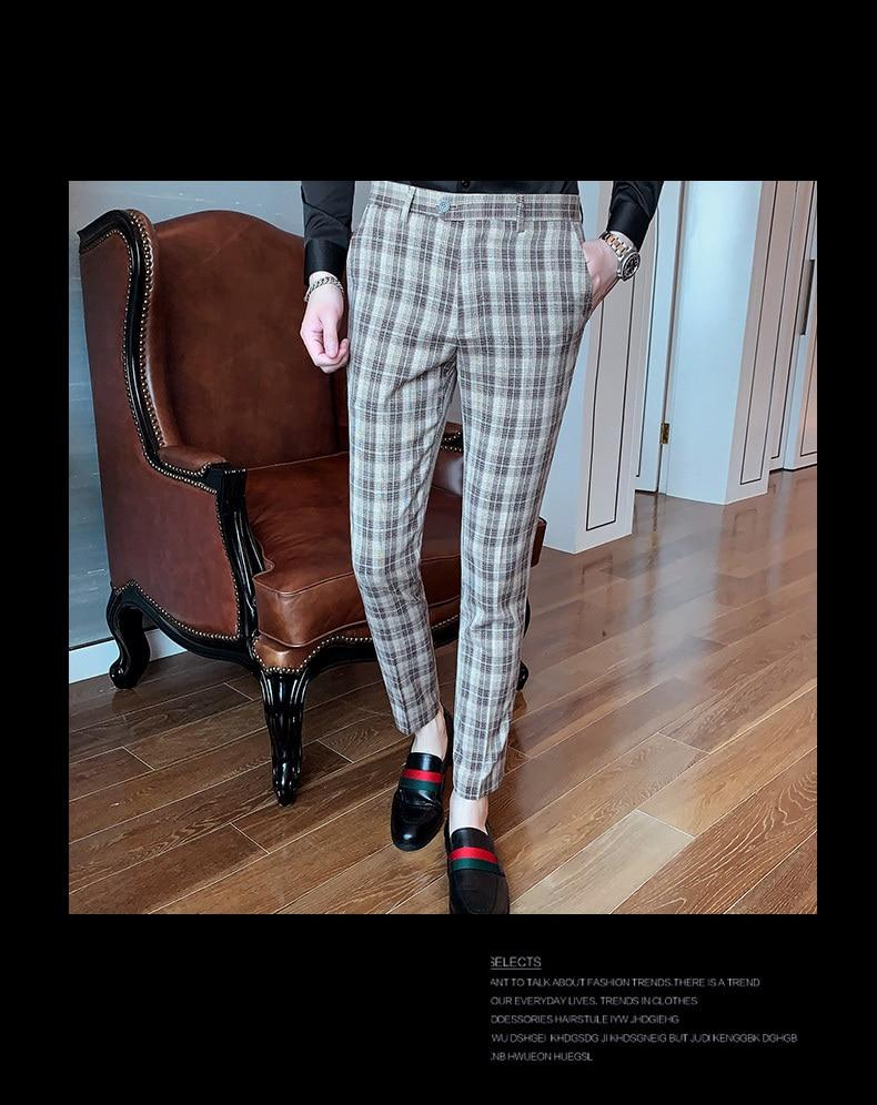 Trendy Fashion Men Dress Pants Ankle Length Slim Fit Cotton Suit Trousers