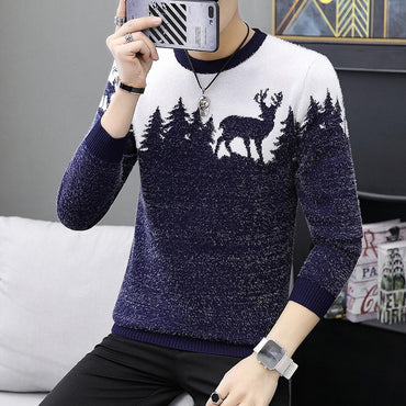 Men Casual Sweater Pattern Knitted Fashion Slim Fit Snowflake Pullover