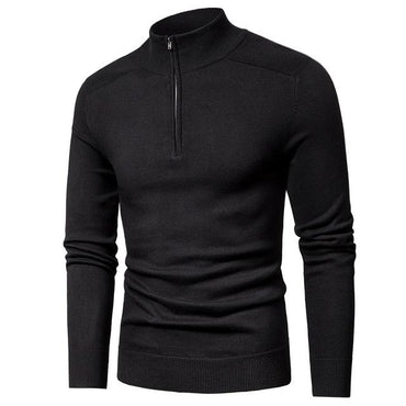 Men Casual Sweater High Quality Cotton Knitted Turtleneck Fashion Zipper Sweater