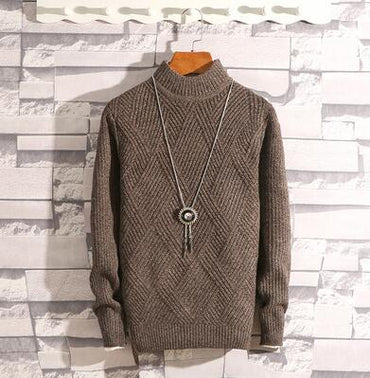 Men Argyle Sweater Top Brand Design Fashion Cooton Wool Knitted