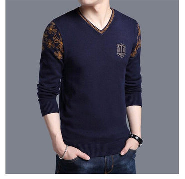 Fashion Style Men Knitted Sweaters V-Neck Pattern Casual Wool Knitted Solid Color