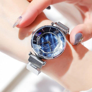 Luxury Flower Mirror Women Magnet Mesh Band Rhinestones Quartz Wristwatch