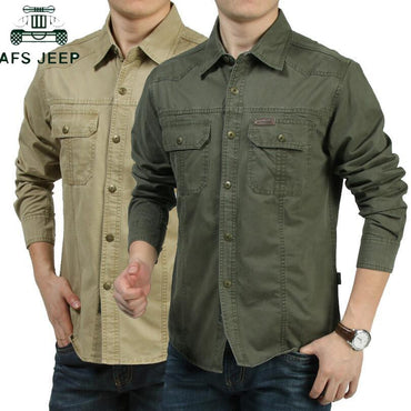 Men Cotton Military Long Sleeve Shirt