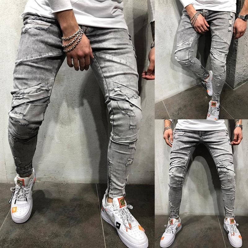 Men Skinny Jeans Stretch Cargo Zipper Hole Hip Hop Style