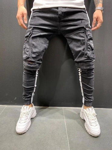 Men Ripped Skinny Jeans Side Stripes Holes Streetwear Joggers Jeans