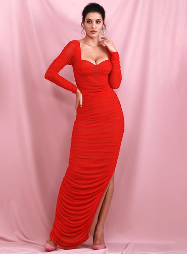 Red Tube Top Mesh Lined Contrast Slim Long Sleeves Side Split Maxi Dress