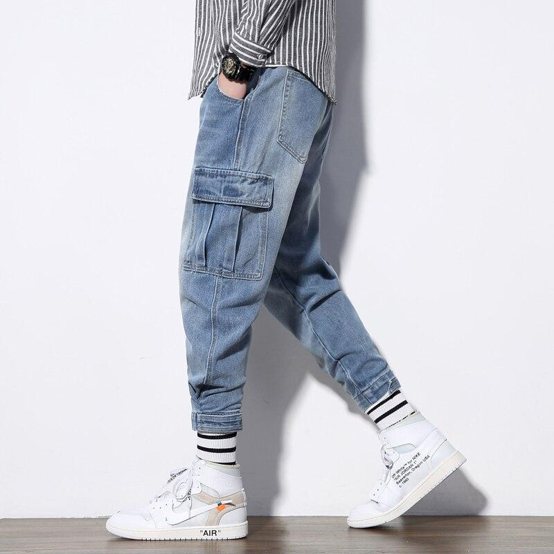 Men Jogger Jeans Loose Fit Streetwear Fashion Casual Side Pocket Design