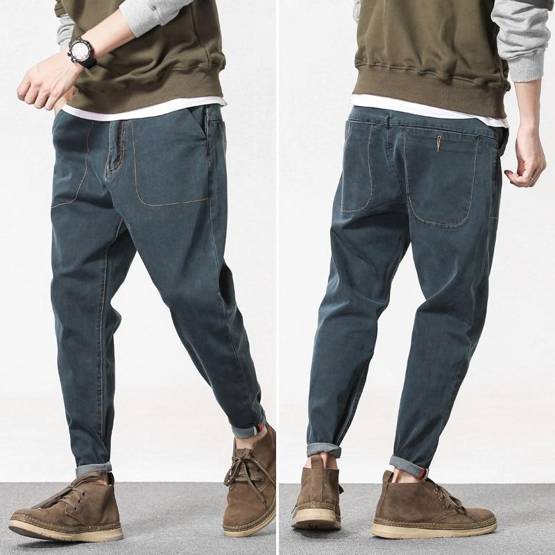 Men Jeans Casual Loose Fashion Solid Color With Pockets