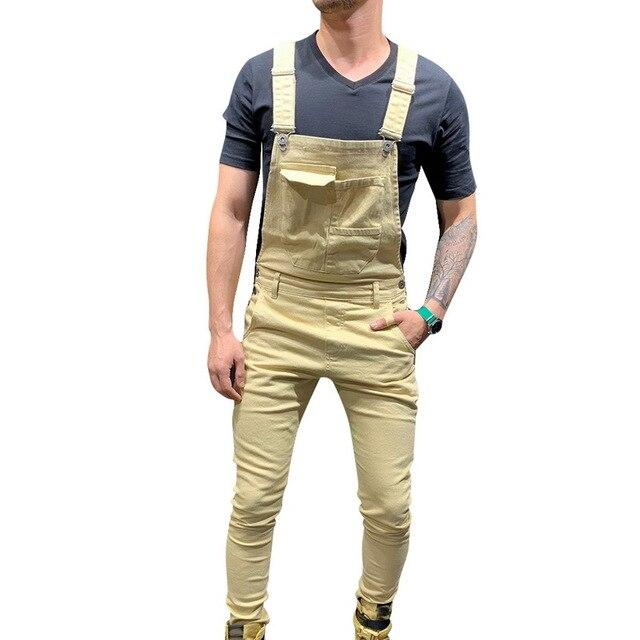 Men Overall Jeans Fashion Slim Casual Suspender Distressed Jeans