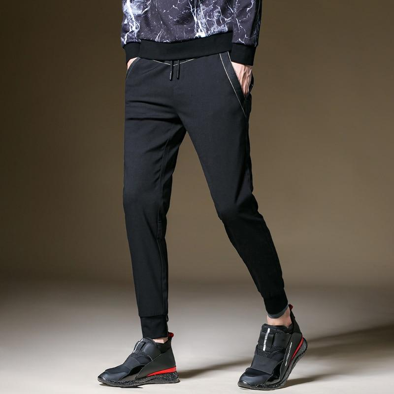 Men Casual Pencil Pants Fashion High Waist Slim Fit Straight Leg Joggers