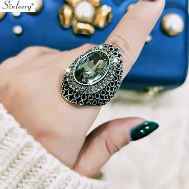 Luxury Vintage Cubic Zircon Hollow Big Ring For Women