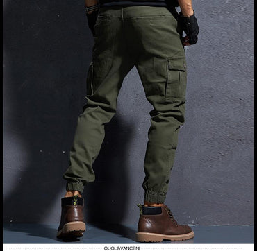 Men Cargo Pants Elastic Foot Close Skinny Tactical Military Style