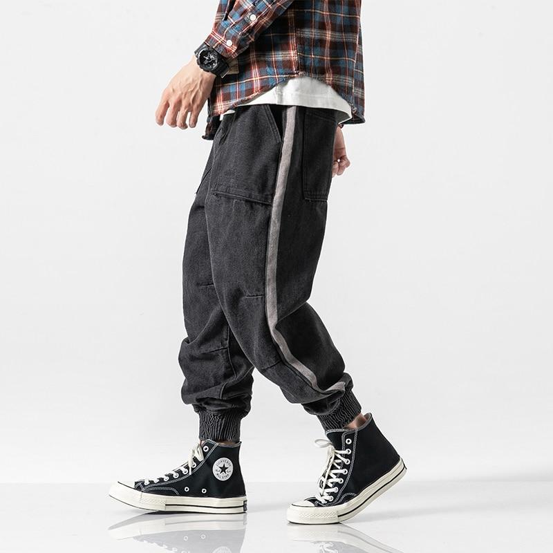 Fashion Men Jeans Retro Cargo Streetwear Loose Fit Stripe Hip Hop Jogger Jeans