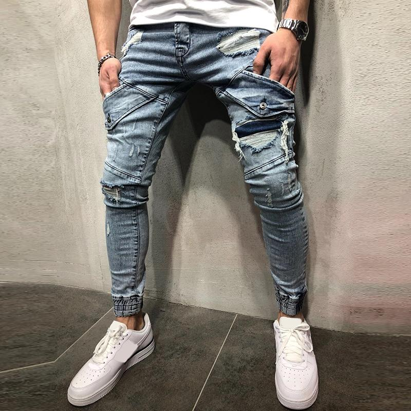 Cool Style Men Ripped Jean Fashion Streetwear Stretch Skinny Jeans