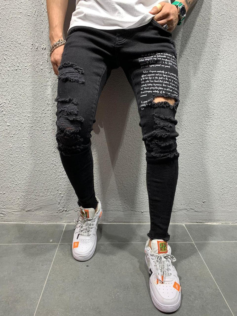 Fashion Design Men Ripped Distressed Jeans Cool Street Style With Knee Hole