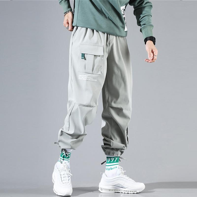Men Joggers Fashion Streetwear  Loose Fit Multi Pockets Casual Harem Pants