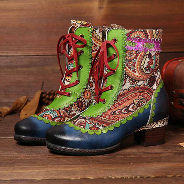 Women Wavy Lace Boots Folkways Pattern Stitching Genuine Leather Boots