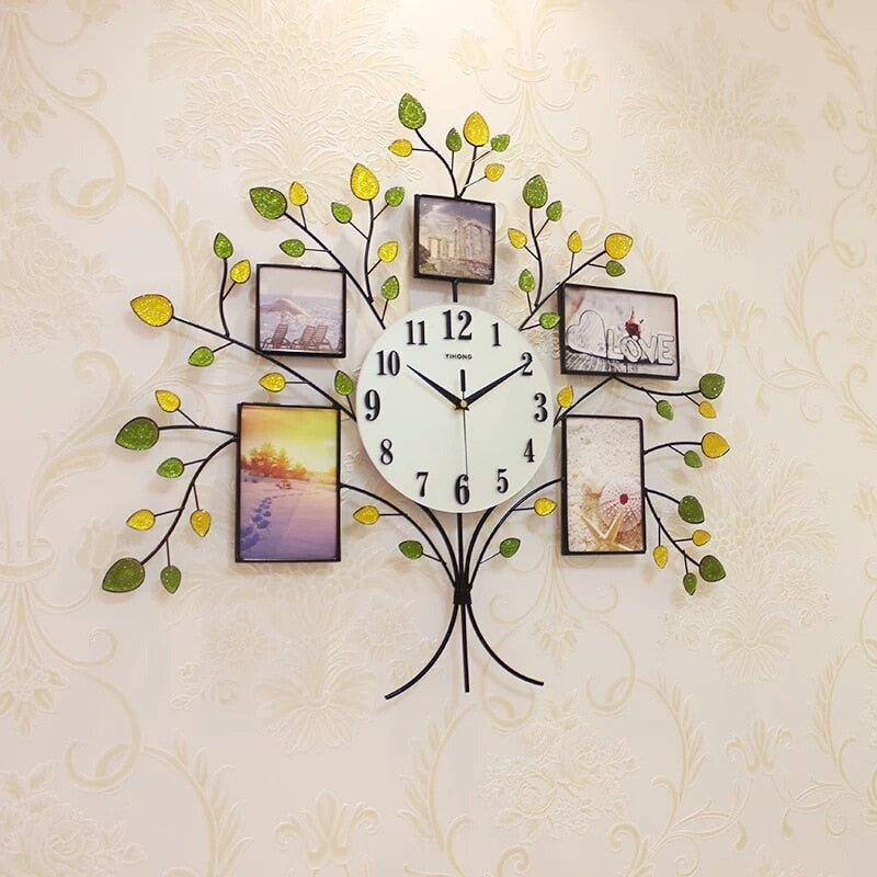 Creative 3D Photo Frame Tree Studded Decorative Wall Clock