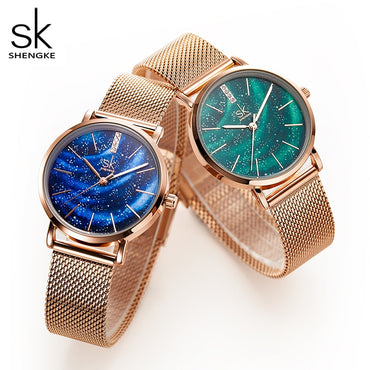 Women Starry Dial Ultra Thin Stainless Steel Quartz Watches