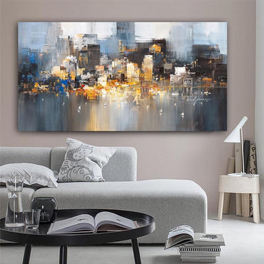 City Building Rain Boat Abstract Art Canvas Painting Wall Decor