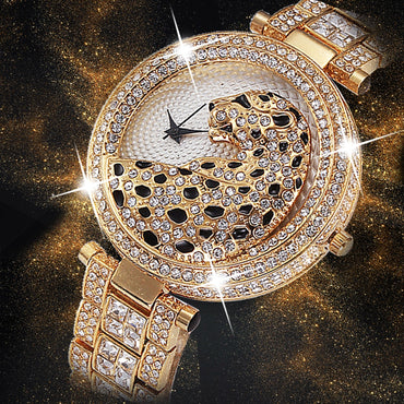 Limited Edition Women Luxury Bling Diamond Leopard Quartz Watches