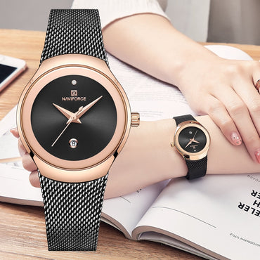 Women Luxury Analog Quartz Watches Stainless Steel Waterproof Wristwatch