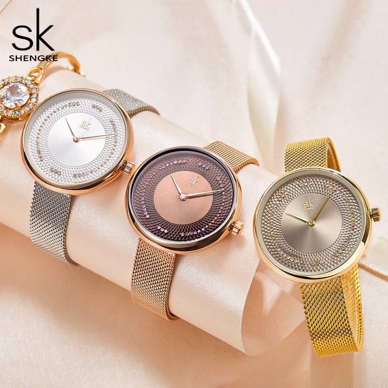 Premium Fashion Women Stainless Steel Strap Wristwatch