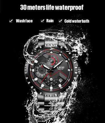 Top Luxury Brand Men Fashion Waterproof Chronograph Stainless Steel Wristwatch