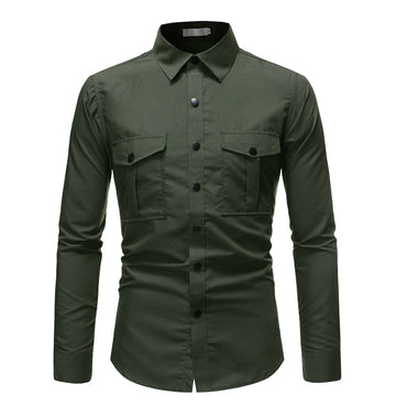 Men Cotton Military Style Long Sleeve Shirt