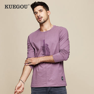 Men Cotton Embroidery Long Sleeve T-Shirt