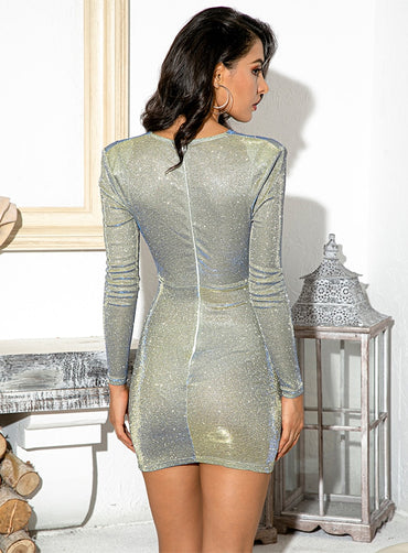 Sexy V Neck Shoulderpad Metal Buckle Bodycon Party Reflective Mini Dress