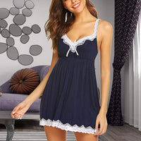 Sexy Lace V-Neck Women Bow Nightdress