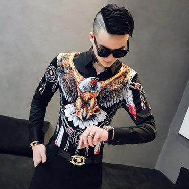 3D Eagle Print Men Slim Fit Luxury Shirt