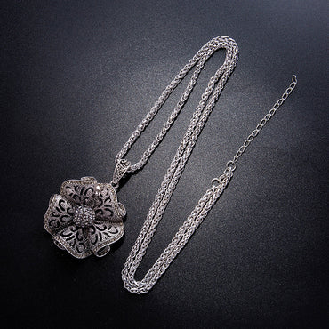 Women Vintage Crystal Flower Drop Necklaces
