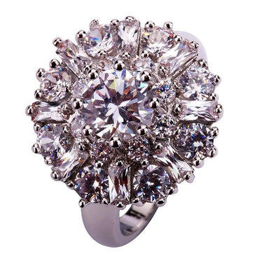 Women Exquisite Charm Flower CZ Silver Ring