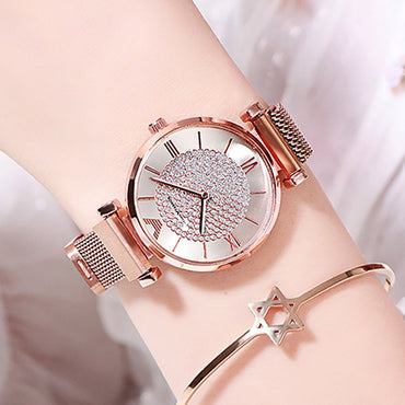 Luxury Diamond Women Rose Gold Magnetic Fashion Wrist Watches